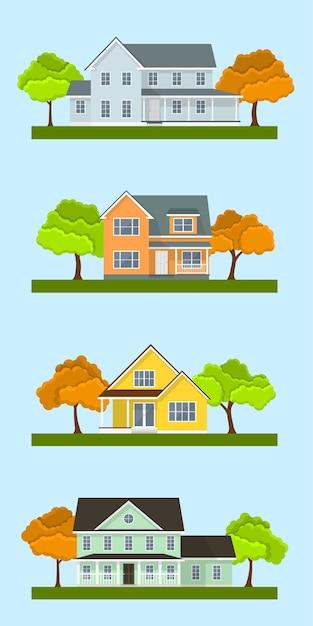 자세한 다채로운 별장 집합입니다. 스타일의 현대적인 건물. 삽화 프리미엄 벡터