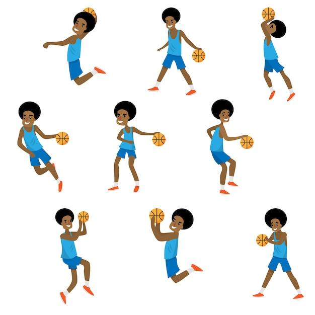 Набор различных действий африканского баскетбольного персонажа мальчика Premium векторы