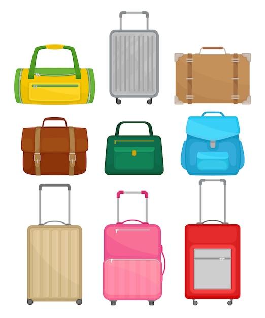 別のバッグのセット。女性のハンドバッグ、革のブリーフケース、バックパック、車輪付きの旅行スーツケース、ダッフルバッグ Premiumベクター