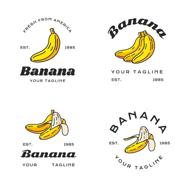 さまざまなバナナのロゴのセット 無料ベクター