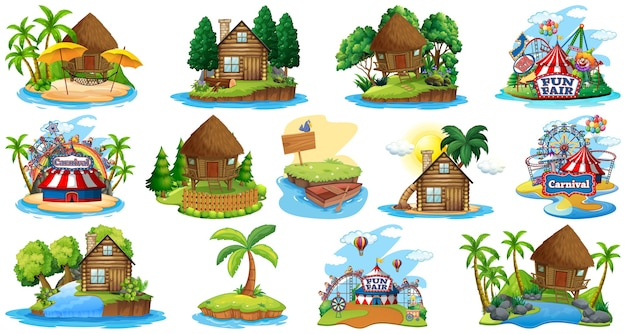 さまざまなバンガローと島のビーチのテーマと白で隔離の遊園地のセット 無料ベクター