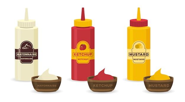 ソース付きのさまざまなボトルのセット-ケチャップ、マスタード、大豆、わさび、マヨネーズ、フラットなデザインのバーベキュー。白い背景で隔離の料理のコレクションボトルとボウルソース。 Premiumベクター