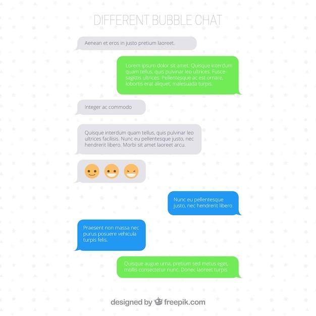 メッセンジャーアプリのためのさまざまな泡のセット 無料ベクター