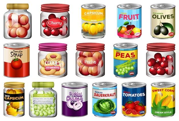 別の缶詰食品と分離されたjarファイルの食品のセット 無料ベクター