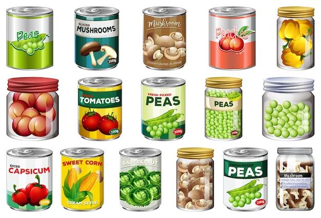 別の缶詰食品と分離されたjarファイルの食品のセット Premiumベクター