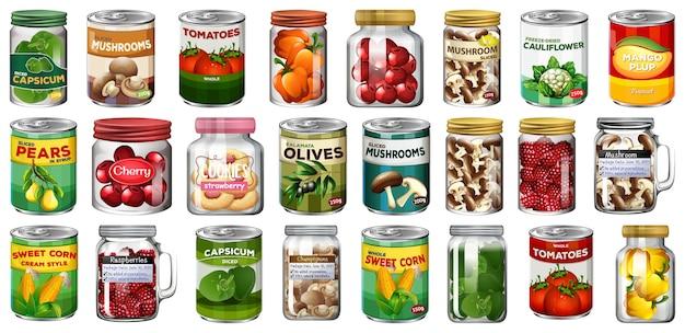 Набор различных консервов и продуктов питания в изолированных банках Бесплатные векторы
