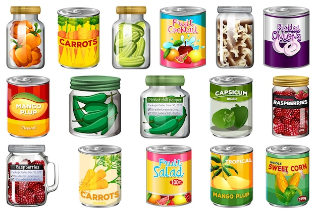 さまざまな缶詰食品と分離された瓶の中の食品のセット Premiumベクター