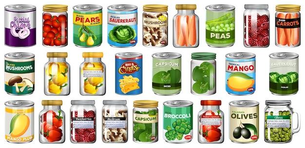 さまざまな缶詰食品と分離された瓶の中の食品のセット 無料ベクター
