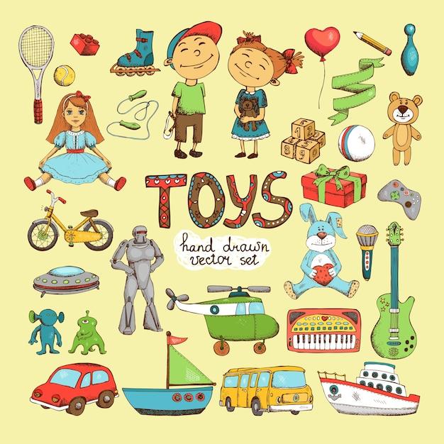 Набор различных мультяшных игрушек Бесплатные векторы