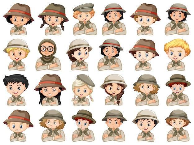 Набор разных персонажей костюмов скаутов мальчиков и девочек Бесплатные векторы