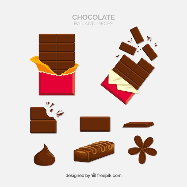 Set of different chocolate candies Free Vector