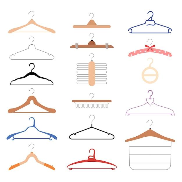 さまざまなハンガーのセット。さまざまな種類の衣類用の木製およびプラスチック製ホルダー。平らな 。白い背景で隔離。 Premiumベクター