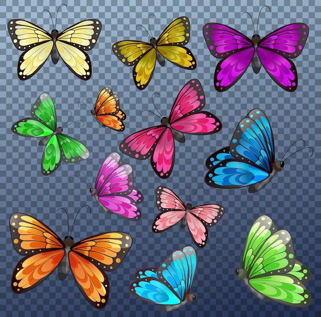 Набор разноцветных бабочек на прозрачном Бесплатные векторы