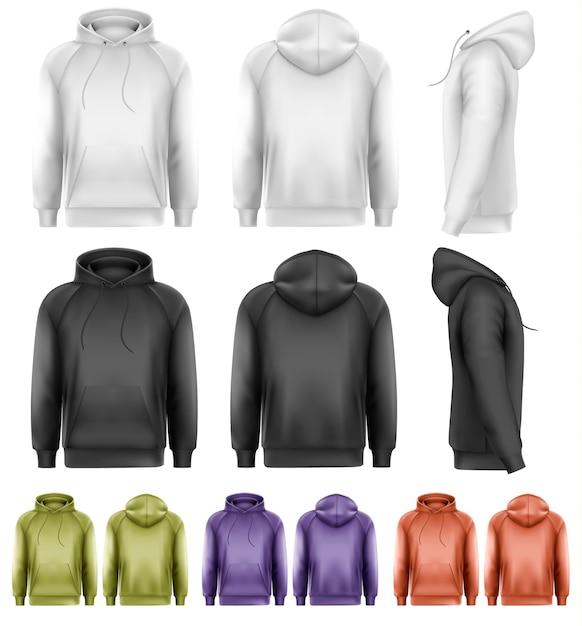 Набор разноцветных мужских толстовок. Premium векторы