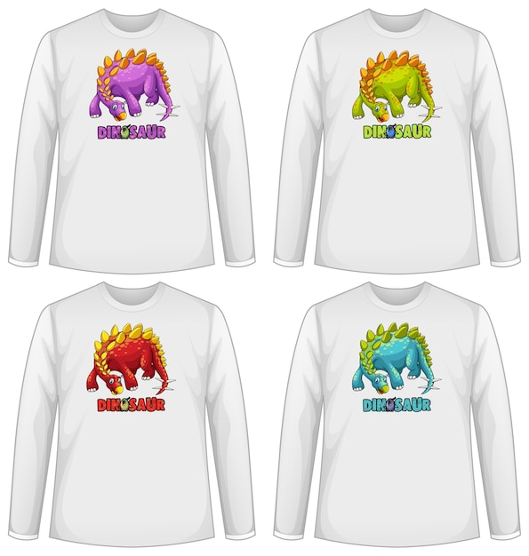 긴 소매 티셔츠에 다른 색상의 공룡 화면 세트 무료 벡터