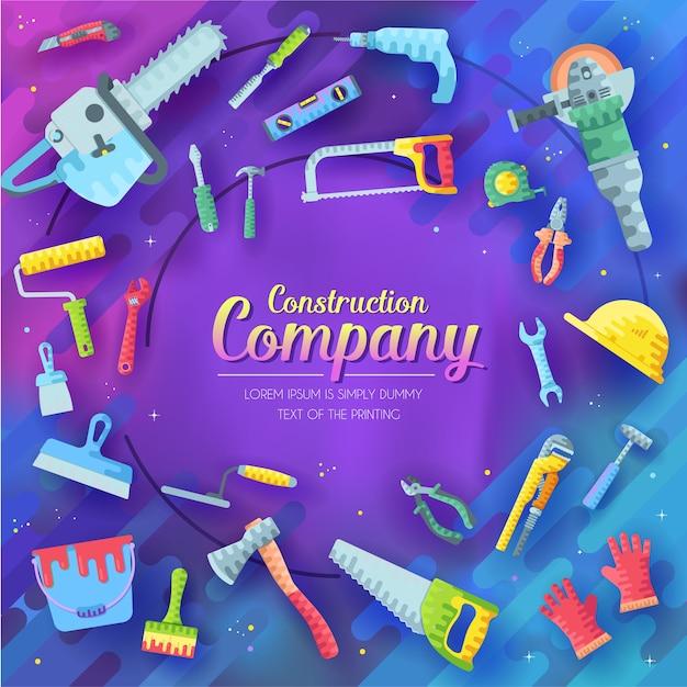 Набор различных элементов строительной компании на абстрактном фиолетовом. элементы значков рабочих инструментов. Premium векторы