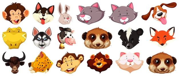 Набор различных милый мультфильм животных голова огромная, изолированные на белом фоне Бесплатные векторы