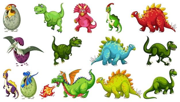 Набор различных мультипликационных персонажей динозавров, изолированные на белом фоне Бесплатные векторы