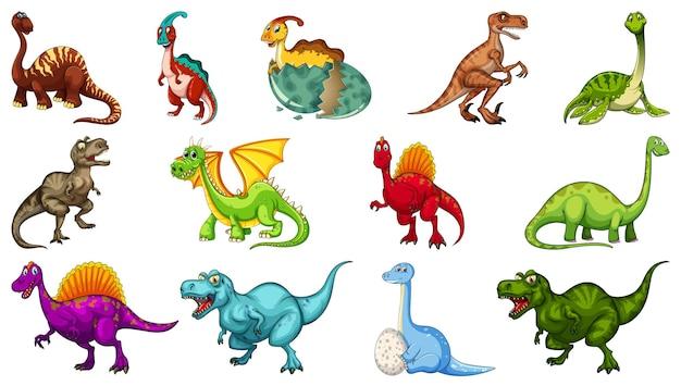 白い背景で隔離のさまざまな恐竜漫画のキャラクターのセット 無料ベクター
