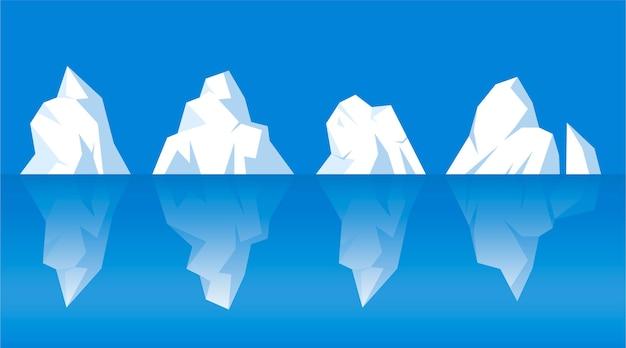 Набор различных нарисованных айсбергов Бесплатные векторы