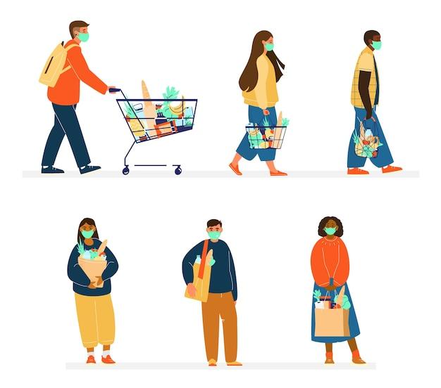 Набор людей разной национальности в продуктовых магазинах защитных масок. новая нормальная концепция. экологичные покупки с использованием сумок-ниток, покупателей. плоский рисунок. изолированный на белизне. Premium векторы