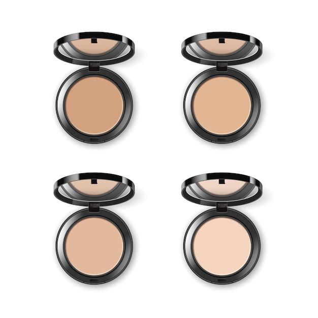 Набор различных косметических пудры для лица Premium векторы