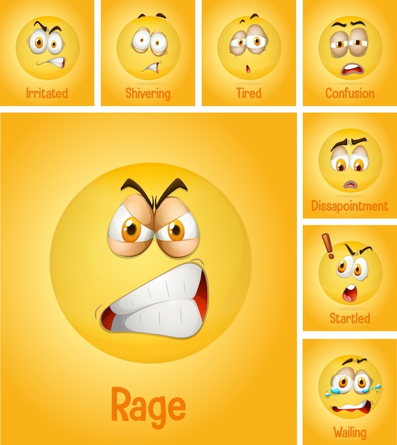 Набор разных лиц смайликов с его описанием на желтом фоне Бесплатные векторы