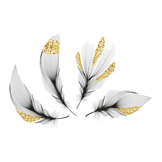 Набор различных падающих пушистых закрученных перьев на белом фоне Premium векторы