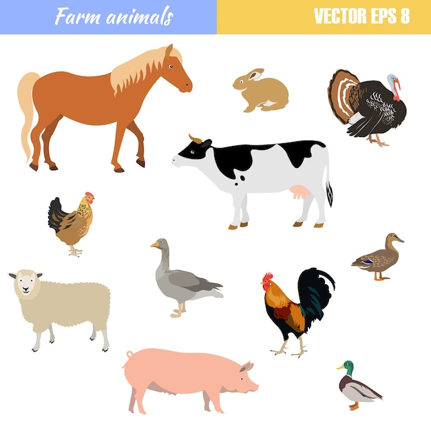 Набор различных сельскохозяйственных животных Premium векторы