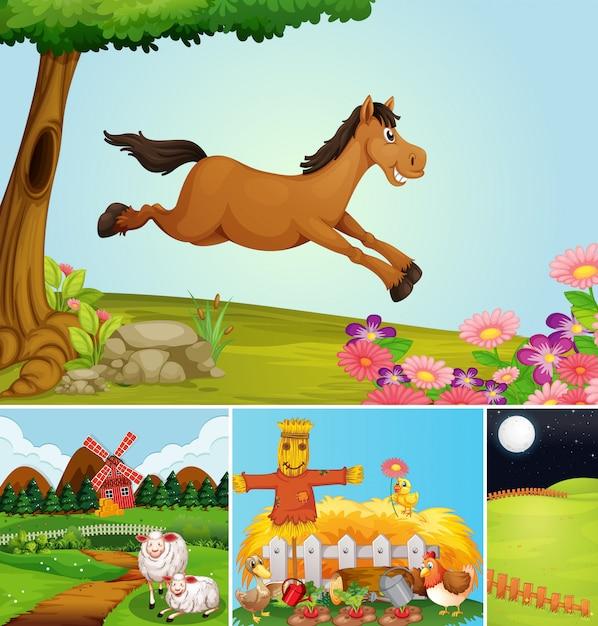 Набор различных сцен фермы с мультяшном стиле животноводческой фермы Бесплатные векторы