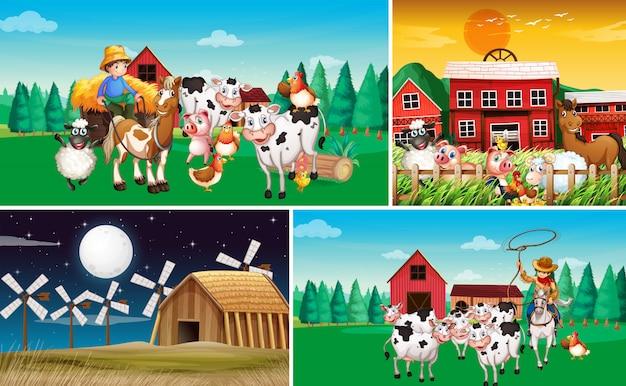 동물 농장 만화 스타일과 다른 농장 장면 세트 무료 벡터