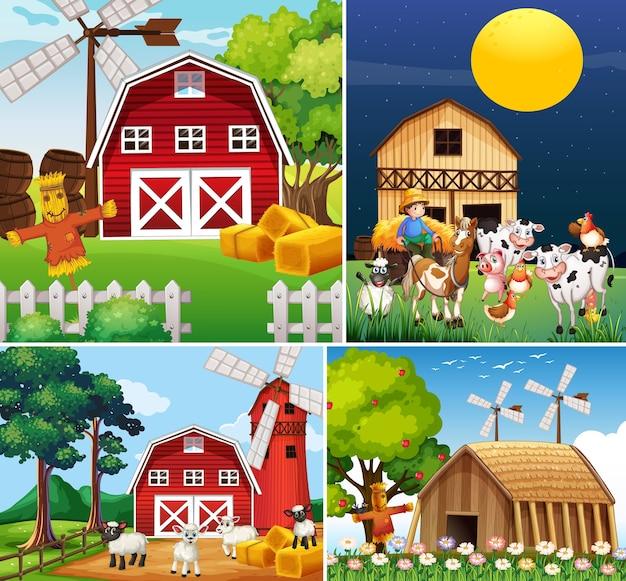 動物農場の漫画のスタイルと異なるファームシーンのセット 無料ベクター