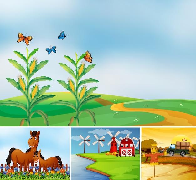 動物農場の漫画スタイルのさまざまな農場シーンのセット 無料ベクター