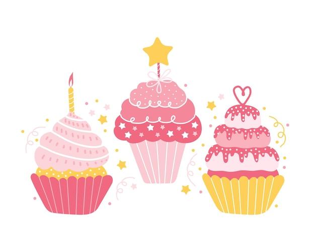 分離されたさまざまなお祝いピンクのカップケーキのセット。 Premiumベクター