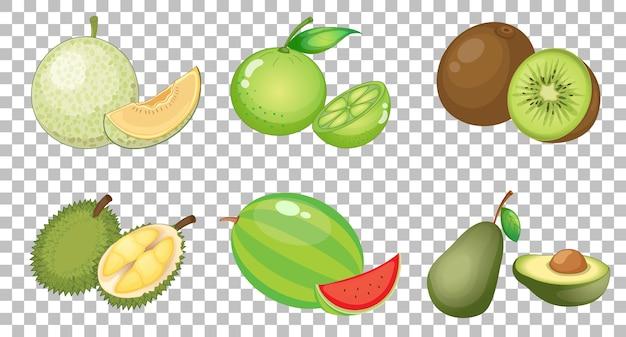 分離されたさまざまな果物のセット 無料ベクター