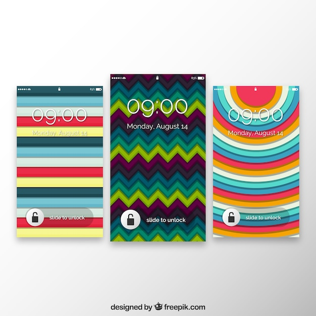 Set of different geometric mobile wallpapers