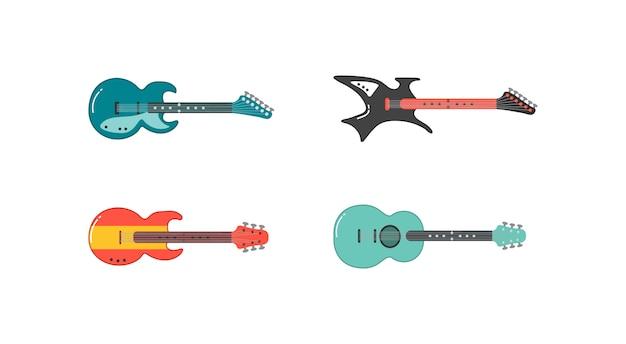 Набор различной гитары. акустическая гитара, электрогитара и укулеле. струнные музыкальные инструменты Premium векторы