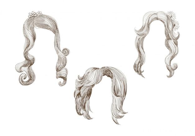 さまざまな髪と髪型のスケッチのセット 無料ベクター