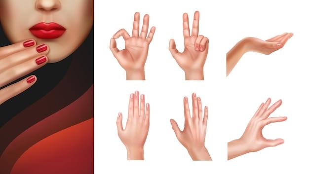 제스처와 잘 손질 된 손톱을 보여주는 다른 손 세트 무료 벡터