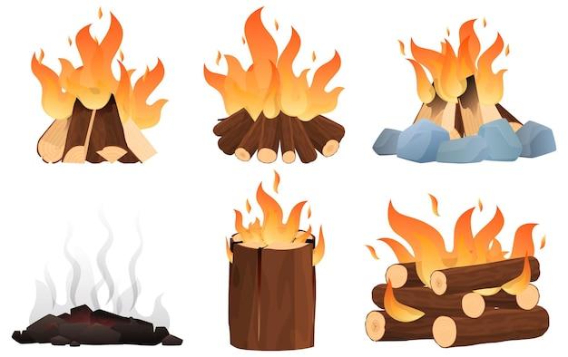 異なる炉床のセット。キャンペーンの焚き火、火をつけるさまざまな方法。 Premiumベクター