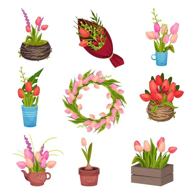 チューリップの異なる画像のセット。花輪に集められ、鍋で育ち、花瓶に立つ。ベクトル画像。 Premiumベクター
