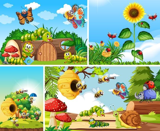 정원 배경에 사는 다른 곤충 세트 무료 벡터