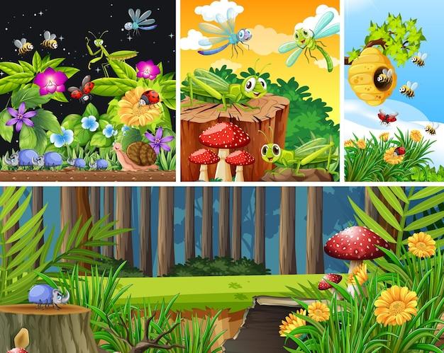 Набор различных насекомых, живущих на фоне сада Бесплатные векторы