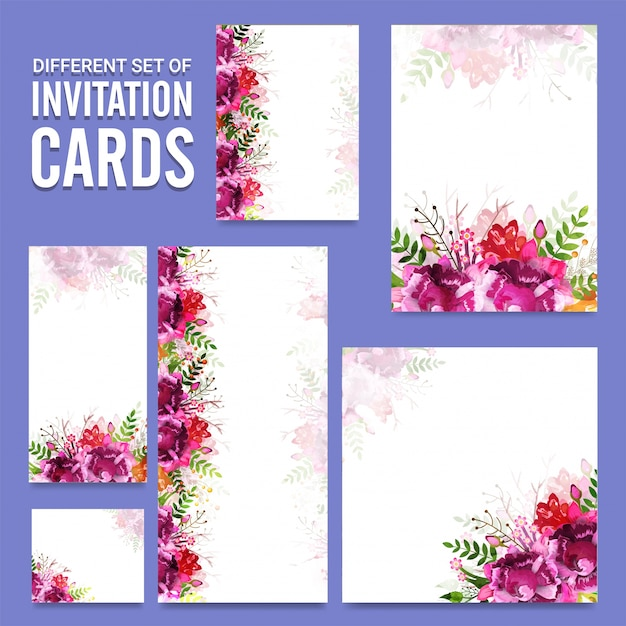 Set of different invitation cards with floral design