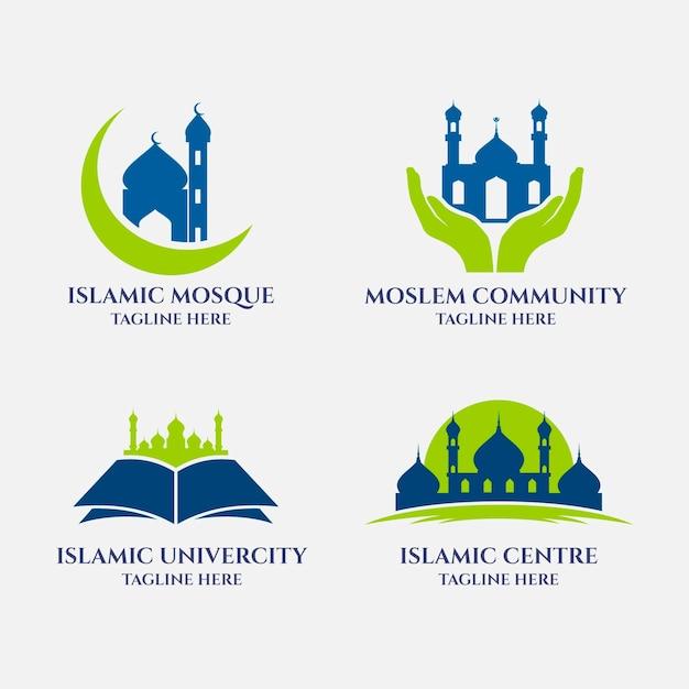 Набор различных исламских логотипов Premium векторы