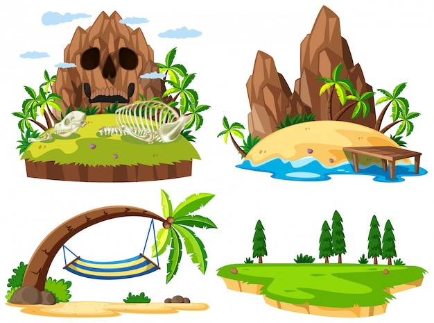 Set of different island Free Vector