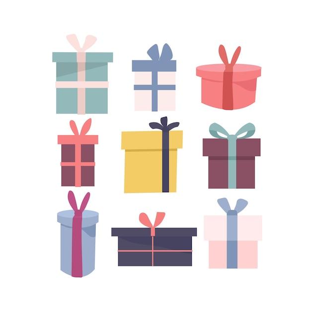다른 모양에 포장 된 색된 선물 상자의 다른 고립 된 아이콘의 집합입니다. 프리미엄 벡터