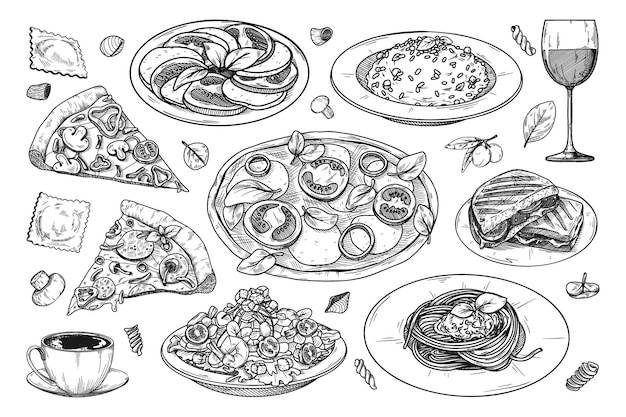 Набор различных итальянских блюд. пицца, спагетти, ризото и другие популярные итальянские блюда. Premium векторы