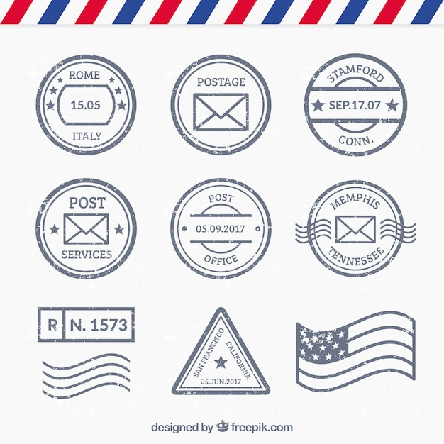 set of different kind of post stamps vector free download