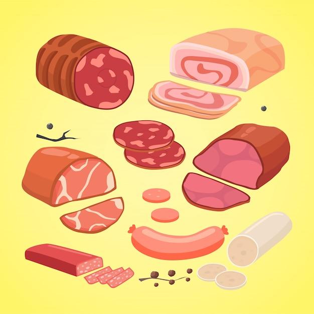 さまざまな種類の肉のセット。ベクトル分離ソーセージ。 Premiumベクター